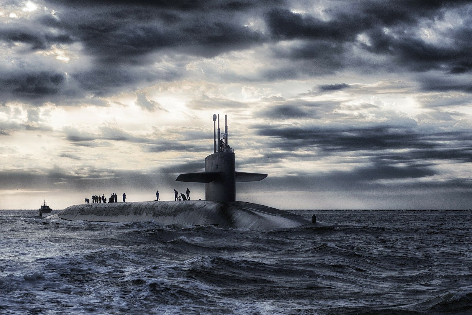 world war 2 submarine on surface of ocean in rough seas for blog post about movie in enemy hands