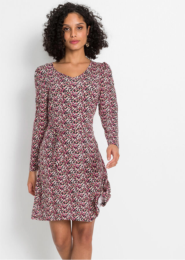 Sukienka z dżerseju z rękawami bufkami