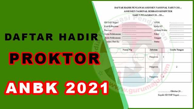 Daftar Hadir Proktor ANBK / AKM 2021 Format Word