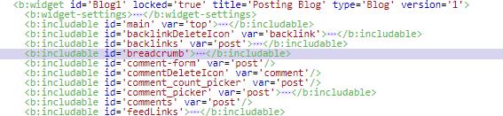 Kode breadcrumb di HTML template Kode Jarwo