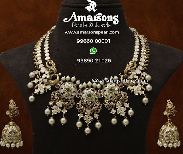 Two Rows Floal Choker with Jhumkas
