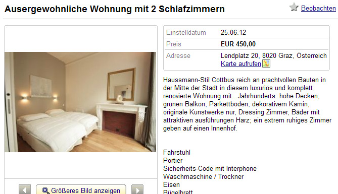 ausergewohnliche wohnung mit 2 schlafzimmern lendplatz 20 8020. Black Bedroom Furniture Sets. Home Design Ideas