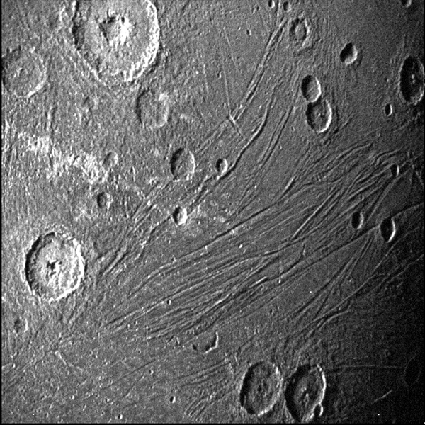 A black & white image of Ganymede that was taken with a navigation camera aboard the Juno spacecraft...on June 7, 2021.