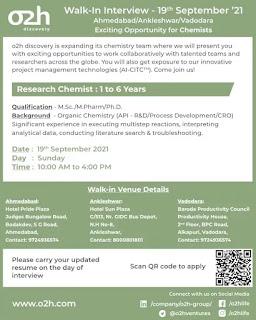 o2h discovery jobs,o2h group jobs,research chemist,m.sc,m.pharm,PhD,Pharmaceutical jobs,pharma jobs,vacancies,Walk-in jobs,o2h discovery career