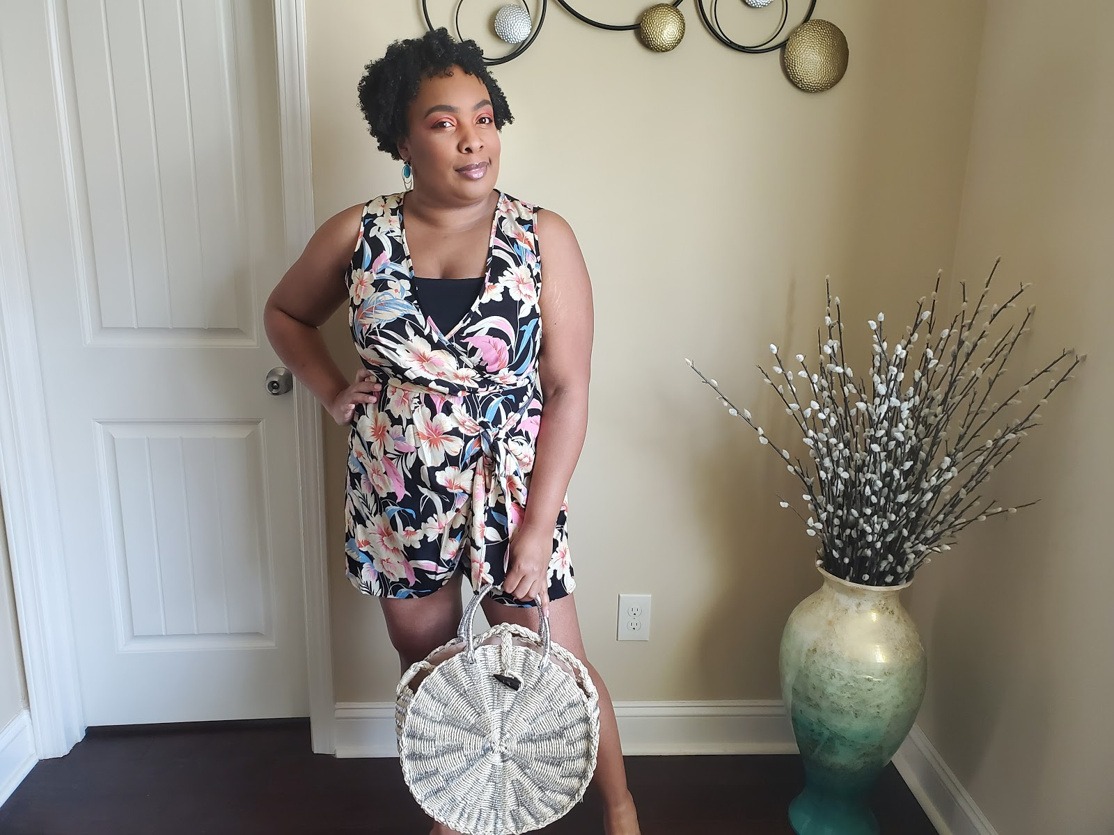 JustFab Tropical Romper and Straw Tote