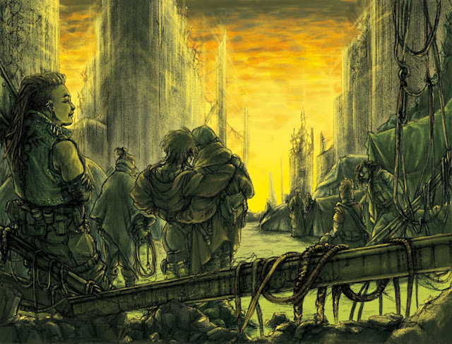 A yellow and green toned image with a collection of people gathered in a fallen city.