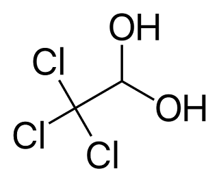 Chloral hydrate (CAS No. 302-17-0) is synthesized by the chlorination of ethanol