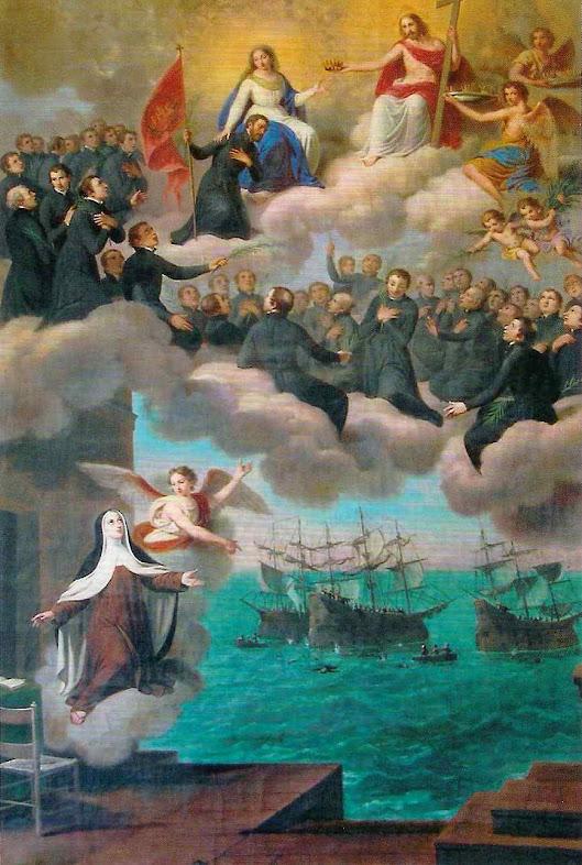 Visão de Santa Teresa da entrada dos 40 Mártires Brasileiros no Céu. Giuseppe Bagnasco (1807 - 1882) Jesuitas de Palermo