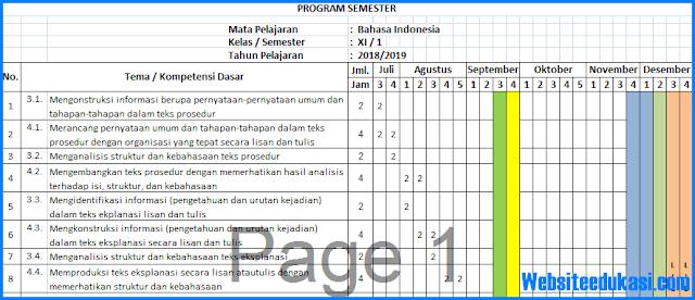 Prota, Promes Bahasa Indonesia Kelas 11 K13 Revisi 2018
