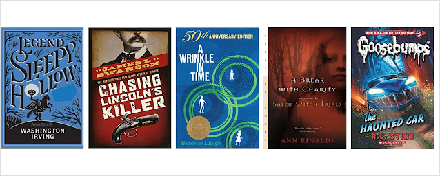 Cover images of The Legend of Sleepy Hollow, Chasing Lincoln's Killer, A Wrinkle in Time, A Break with Charity, and Goosebumps