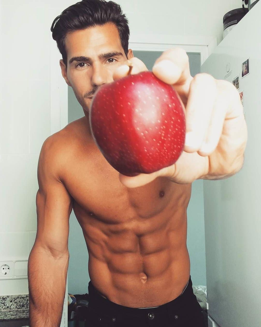 handsome-bare-chest-sixpack-abs-male-model-nice-hairstyle-red-apple