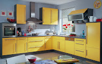 Lovely combination of color soft blue and yellow in kitchen furniture with gray tiles backsplash