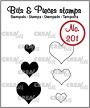 """Mini clear-stempels (max 15 x 14 mm), 3 """"open"""" harten en 3 """"dichte"""" harten. Mini clear-stamps (max 15 x 14 mm), 3 """"outline"""" hearts and 3 """"solid"""" hearts."""