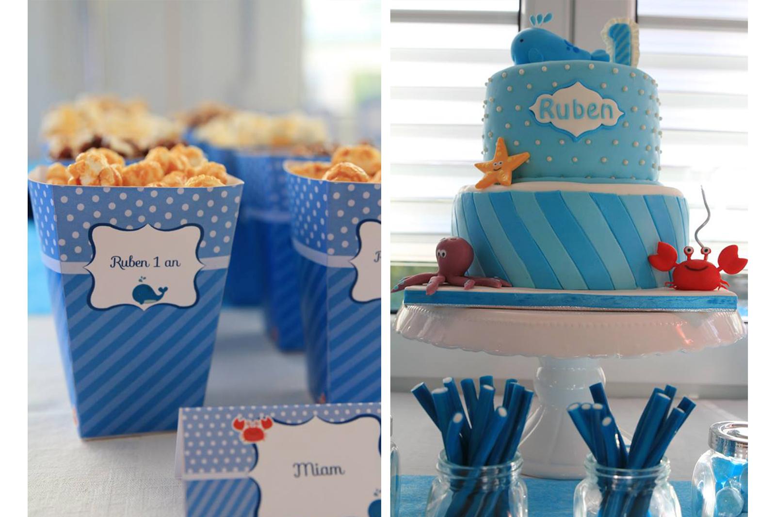 pots a pop corn decore et gateau bleu et blanc en theme mer