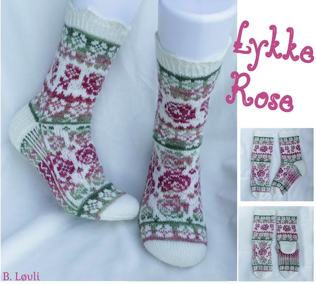 strikkeoppsrift på sokker - Lykkerose