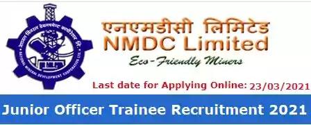 NMDC Junior Officer Trainee Vacancy Recruitment 2021