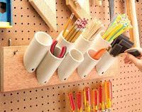 Ideas con tubos de PVC - herramientas en el taller