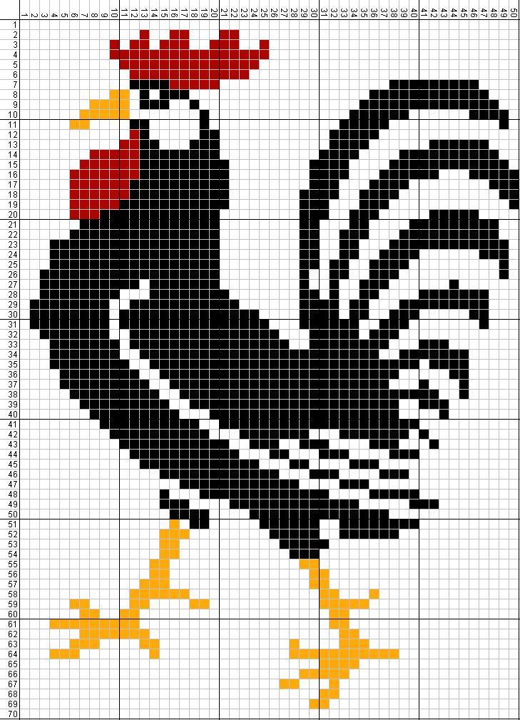 Gambar Pola Kristik Sederhana Ayam Jantan Hitam Gambarkristikcom