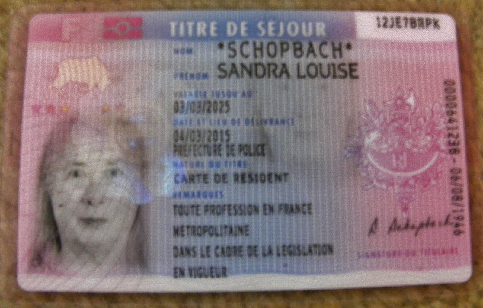 carte de 10 ans Sandy's France: Carte de séjour