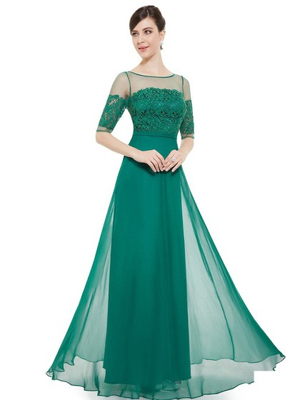 Scoop Neck Tulle Chiffon Floor-length with Lace Fashion 1/2 Sleeve Prom Dress
