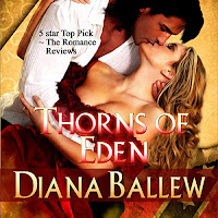 Thorns of Eden audiobook cover. A dark haired man in an open white shirt kisses a woman with long dark-blonde hair in a ravishing red dress.