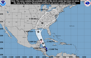 Tropical Storm Nate, expected later today, to hit Gulf Coast as a hurricane