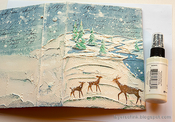 Layers of ink - December Daily Peaceful Winter Tutorial by Anna-Karin Evaldsson. Splatter to create snow.