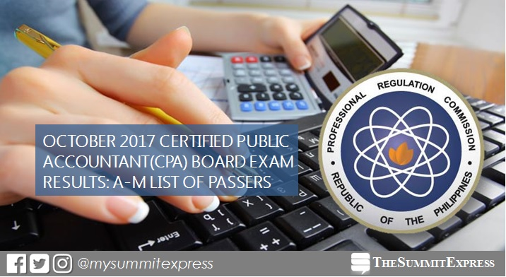 LIST OF PASSERS: A-M October 2017 CPA board exam results