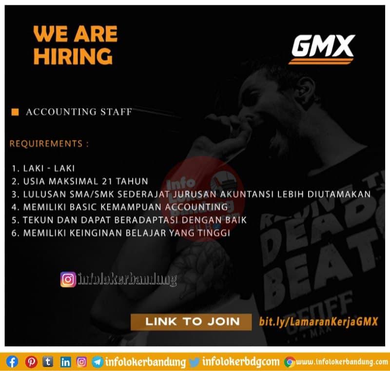Lowongan Kerja Accounting Staff GMX Bandung April 2021