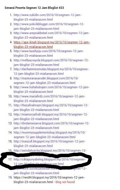 Menang segmen 12 jam bloglist #23 by Mialiana.