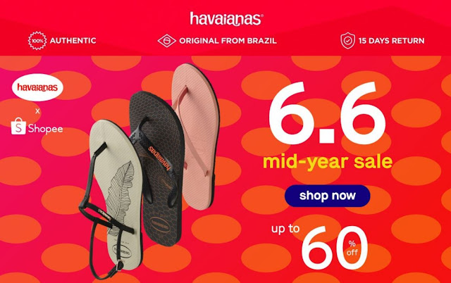 Get up to 60% off on the Havaianas store on Shopee this mid year sale!