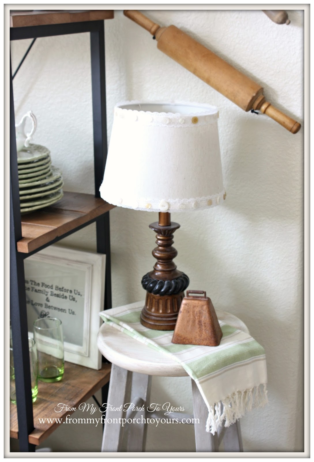 French Farmhouse Spring Breakfast Nook- From My Front Porch To Yours-Vintage Cow Bell
