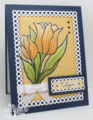 ODBD Tulips, ODBD Custom Tulip Die, ODBD Custom Circle Scalloped Rectangles Dies, ODBD Custom Pierced Rectangles Dies, ODBD Birthday Brights Paper Collection, Card Designer Angie Crockett