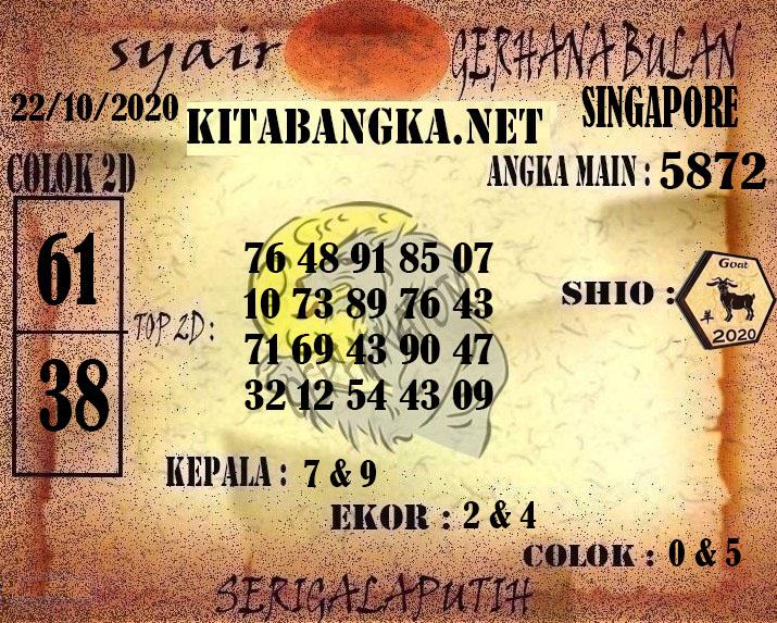Kode syair Singapore Kamis 22 Oktober 2020 158