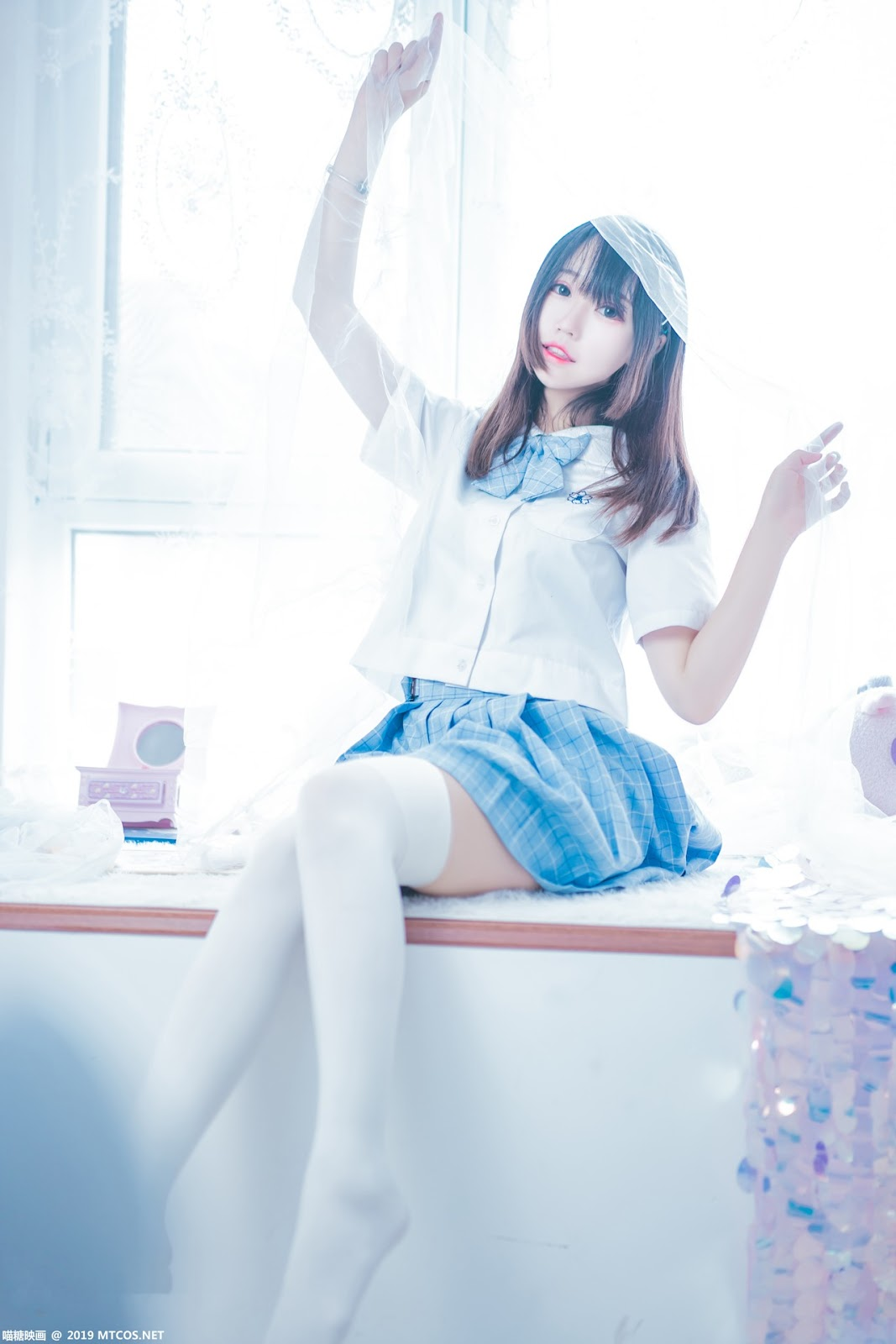 Image [MTCos] 喵糖映画 Vol.019 – Chinese Cute Model – Blue White Fantasy Girl - TruePic.net - Picture-5