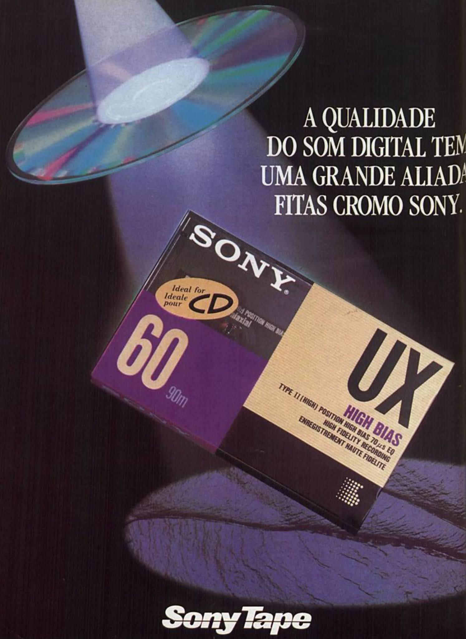 Anúncio da Sony promovendo sua fita cassete em 1992