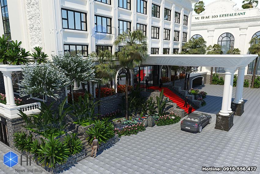 Hình ảnh: Sân vườn bố trí đẹp trong thiết kế khách sạn 4 sao hai mặt tiền