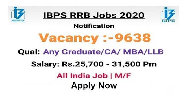IBPS RRB Apply Online 9638 Post 2020, ibps rrb 2020