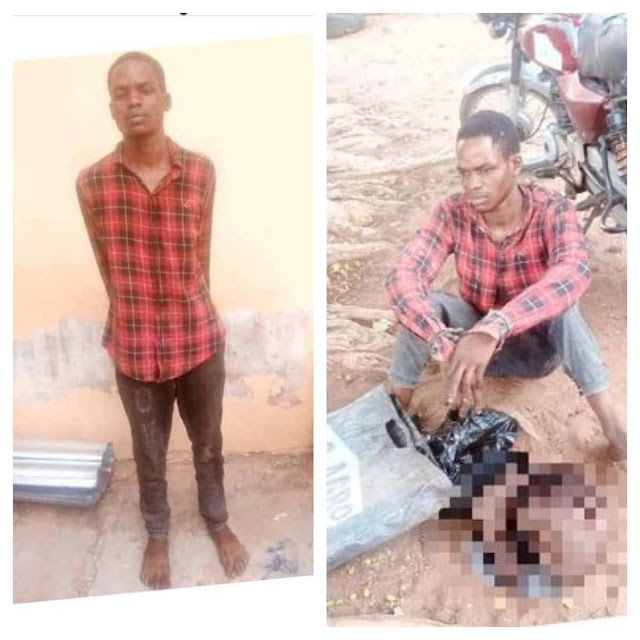 Young man caught with a fresh human head and a hand in Kwara state (Photos)