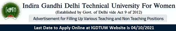 IGDTUW Faculty Non-Teaching Vacancy Recruitment 2021