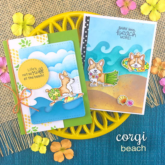 Corgi Beach Cards by Jennifer Jackson | Corgi Beach Stamp Set, Pineapple Stencil Set, Waves & Splashes Stencil, Hills & Grass Stencil, Clouds Stencil and Sea Borders Die Set by Newton's Nook Designs #newtonsnook #handmade