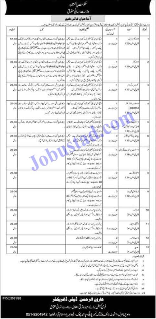 Ministry of Human Rights (MOHR) Jobs November 2020