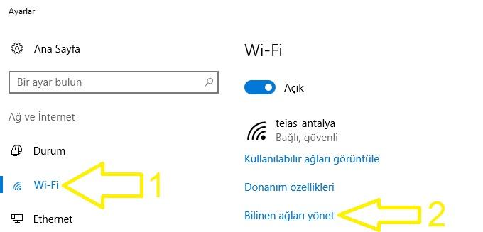 win10 wifi şifresi göster