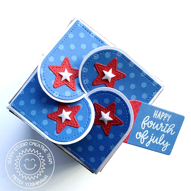 Sunny Studio Stamps: 4th of July Red, White & Blue Patriotic Star Treat Box (using Wrap Around Box dies)