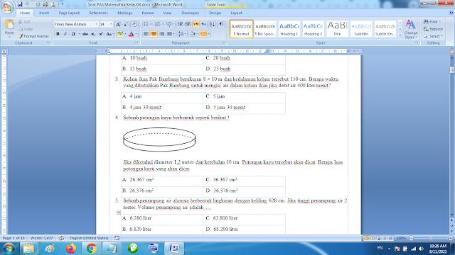 Soal PAS Matematika Kelas 6B kurikulum 2013 Revisi Terbaru dan Jawaban