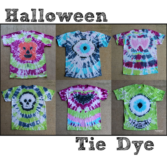 6 tie dye shirts perfect for halloween, pumpkin, eyeball, skull head, batman, sugar skull and monster, complete with tie dye shirts instructions.