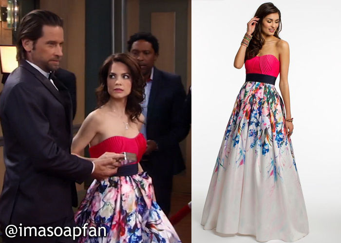 Elizabeth Webber's Strapless Floral Gown at the Nurses Ball - General Hospital, Season 54, Episode 05/24/16