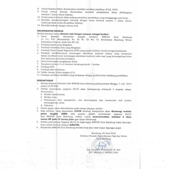 Seleksi Penerimaan Pegawai BLUD Non PNS RSKGM Kota Bandung Tahun 2019