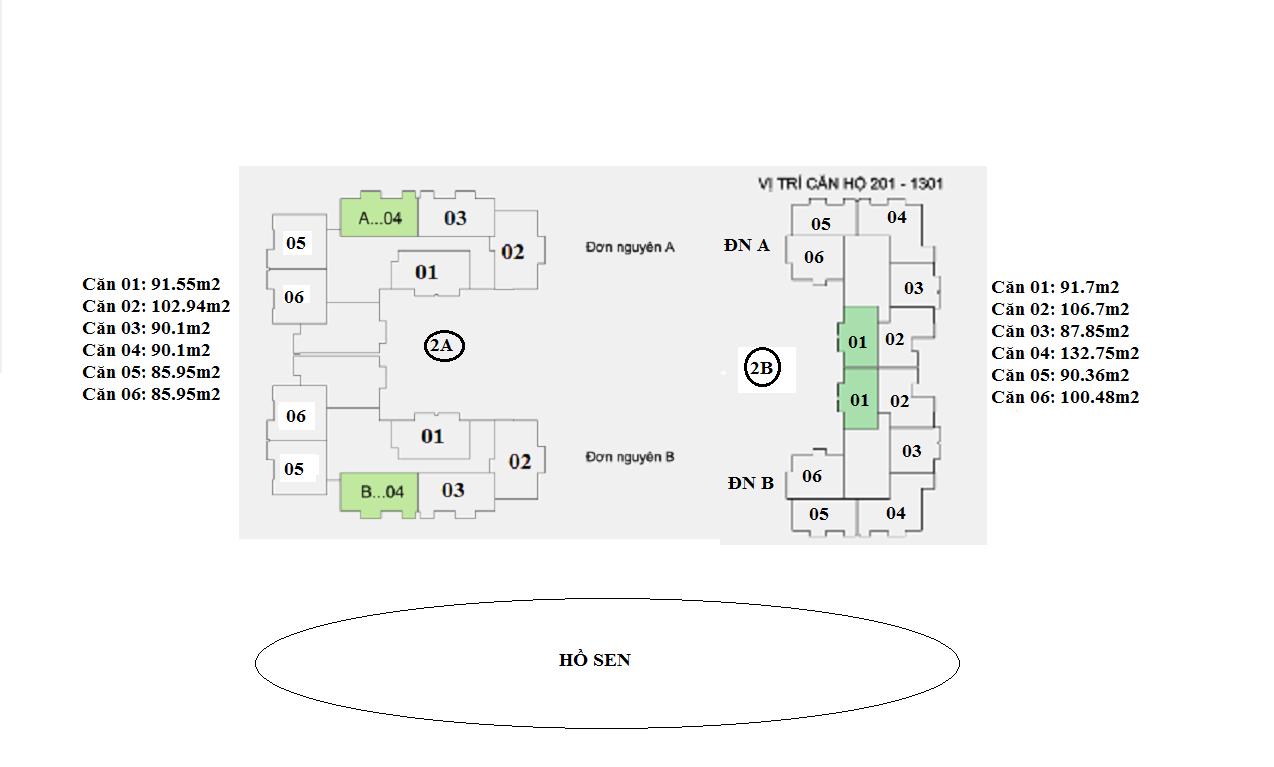 mặt sàn căn hộ tòa 2A và 2B chung cư Lotus Lake View