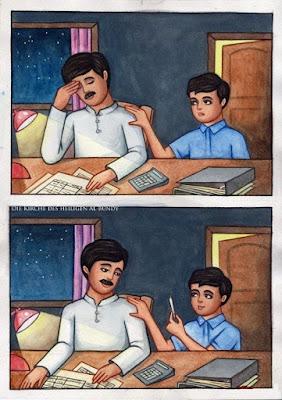 Trauriger Vater wird vom Sohn aufgeheitert lustiges Joint Bild